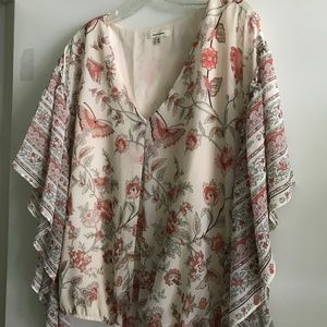 Max Studio Coral and Cream Blouse, Sz S